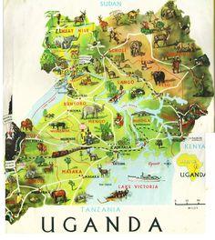 Map of Uganda, Africa