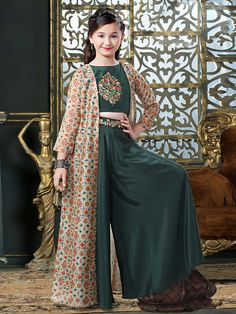 Shop Bottle green designer silk punjabi palazzo suit online from G3fashion India. Brand - G3, Product code - G3-GSS1155, Price - 3530, Color - Green, Fabric - Silk,