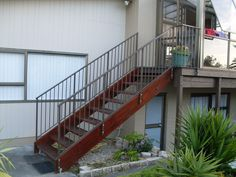 Wooden Staircase with wrought iron balustrade - Auckland Balustrades - External Wooden Staircases, Auckland, Wrought Iron, Exterior, Wooden Stairs, Outdoor Rooms, Hardwood Stairs