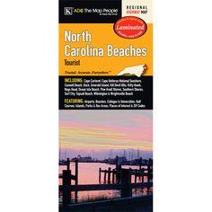 North Carolina Beaches Tourist Laminated Map