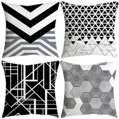 Purchase Set of 4 Pillow Cases Blue and White Porcelain Cove Abstract Now Simple Black Geometric Pillowcase Cushion Cover Case Home Decor from Wallis Flora on OpenSky. Share and compare all Home. Geometric Throws, Cushions, Pillows, White Porcelain, Decoration, Print Patterns, Pillow Cases, Blue And White, House Design