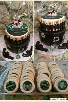 Call of duty black ops 3 cake and cookies.