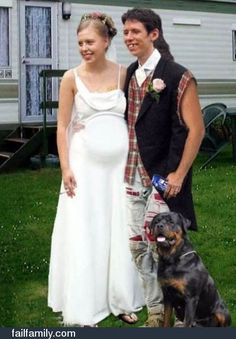 The makings of a perfect redneck wedding.Pregnant bride smoking a cigarett in flip flops, Goom with a mullet, flannel cut off shirt with ripped jeans holding a beer and a dog as best man! Too Funny! Redneck Wedding Dresses, Ugly Wedding Dress, Tacky Wedding, Redneck Weddings, Wedding Attire, Redneck Outfits, Wedding Dress Fails, Wedding Gowns, Wedding Fail