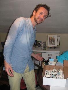 Colin MacDonald of the Trews and the birthday cupcakes. May 31/13, Lewiston, NY.