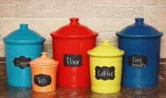 Chalkboard Canister Labels Set of 5 Peel and Stick Organization Vinyl Decal Sticker