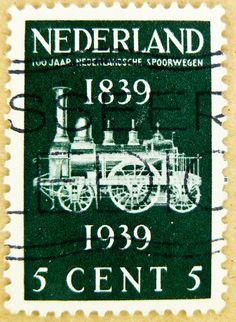 dutch stamp Netherland 5c Nederland railroal Briefmarken Niederlande Holland.