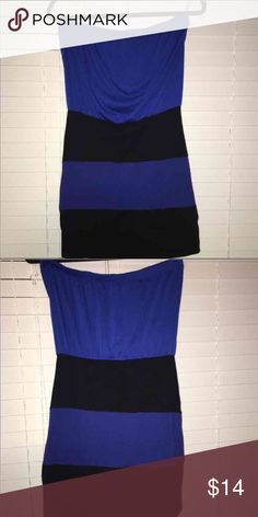 Royal Blue Strapless Dress Cute Royal blue and back striped strapless dress. It's looser on top and tight fitting on the bottom. Totally a great dress to wear for our night out! Maurices Dresses Strapless