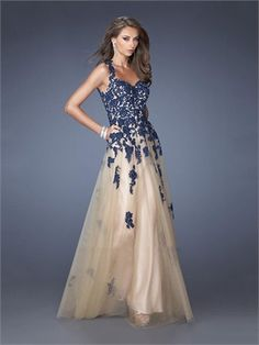 Straps V-neck Lace Tulle Prom Dress PD2666
