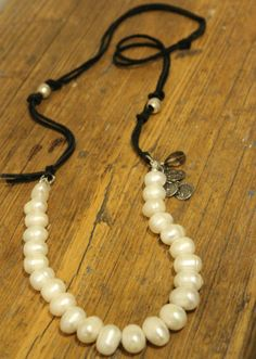 Leather and Pearl necklace by KathyGaiserJewels on Etsy, $138.00