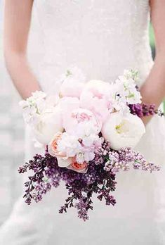 July Wedding Flower Bouquet Bridal Flowers Arrangements Purple Stock Roses Peonies