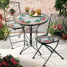 Mosaic patio set.