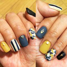 #autmumn#nail#2015 #smokey#mat #stripe#camo#studs#art #navy#mastard#blue#ivory