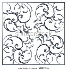 Floral square swirl pattern from 3d ornamental scrolls and curl. Vintage decorative elements