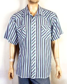 e9dc4e2edd vtg Wrangler euc Blue Gray Striped Men s SS Western Pearl Snap Shirt sz 3X