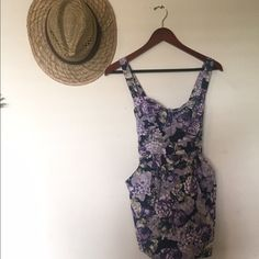 Purple Floral Dress Has pockets and ties as a bow in the back. Very cute and flattering. Worn a few times for holidays/church. Papaya Dresses Mini