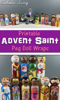 I get constant requests for more sets of peg doll printables, so here you go. Today, I bring you printable Advent Saint peg doll wraps! All you have to do is paint the heads, then you Modge Podge the rest. And btw, Mod Podging isn't even an extra step, you have to do it to seal the peg dolls somehow anyway. I just love this new Saint peg doll set. They are my favorite set so far!#catholickids #pegdolls #catholicpegdolls #adventsaints #advent #catholicadvent #adventtradition #adventwreath… Catholic Crafts, Catholic Kids, Catholic Icing, Advent For Kids, Christmas Crafts For Kids, Advent Ideas, Advent Activities, Activities For Kids, Liturgical Seasons