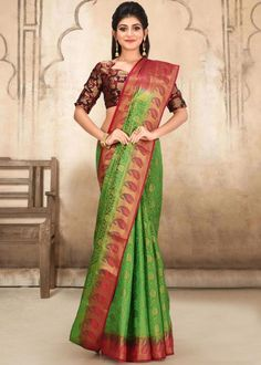 #green #kanjivaram #silk #saree #blouse #attractive #design #sareelove #new #arrivals #beautiful #indianwear #ootd #traditional #womenswear #online #shopping Kanjivaram Sarees, Kanchipuram Saree, Silk Sarees, Dark Teal, Teal Blue, Indian Wear, Sari, Saree Blouse, Contrast Color