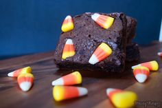 The perfect way to use that Candy Corn this Halloween! | www.staceysrecipes.com Eat Dessert First, Vegetarian Chocolate, Halloween Candy, Candy Corn, Grocery Store, Cocoa, Brownies, Sweets, Baking