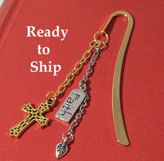 Metal bookmark. Book club. Cross charm. Book accessory. Get well gift. Faith charm. Inspirational gift. Religious  gift by LaBellaBottega13 on Etsy