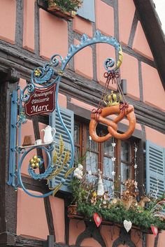 ☜(◕¨◕)☞ Eguisheim , France Restaurant Signs, Pub Signs, Storefront Signs, Lovely Shop, Roadside Attractions, Business Signs, France, Store Signs, Advertising Signs
