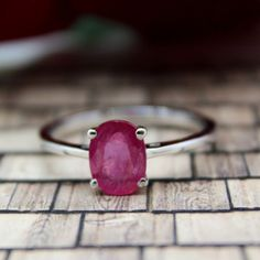 Beautiful Ruby Ring for everyday wear. Ruby is a July birthstone. Ring size available: US 8.5 Stone Shape: Oval Stone Size: 7.9 x 6.21mm@ artfire