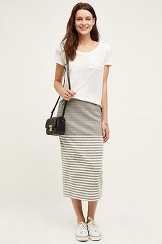 Anthropologie EU Liberty Striped Midi Skirt, Grey