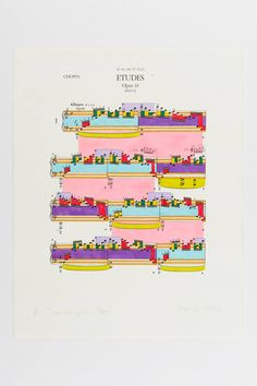 Paul Sharits Hand-colored screen print of Chopin's Études Opus Graphic Score, Communication Icon, Contemporary Art Daily, Typography Layout, Printed Matter, Graphic Design Posters, Art Direction, Screen Printing, Illustration Art