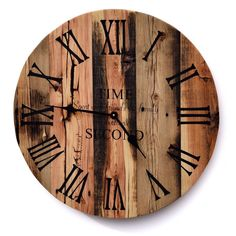 Reclaimed Barn Wood Clock Rustic Wood Wall Clock Large Barn Wood Clock Time spent with friends and family is worth every second Wall Clock Elegant, Rustic Wall Clocks, Wood Clocks, Rustic Wood Decor, Rustic Wood Walls, Reclaimed Wood Beds, Wooden Textures, Large Clock, How To Antique Wood