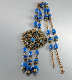 Vintage  Art Deco  Blue Lapis GLASS , BRASS, Sautoir Style, Tassel  Necklace.