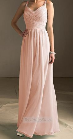 Light Blush Bridesmaid Dress Pearl Pink Long Evening Dress with straps Chiffon A-line