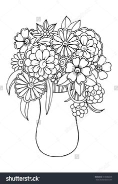 Vector bouquet of flowers in a vase