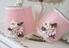 Vintage Lamp Shade - French Pink - Boudoir Vanity - Shabby Cottage - Ribbonwork Flower Bouquet