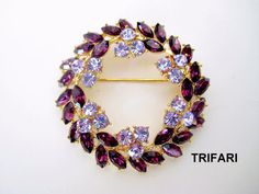 TRIFARI Wreath Brooch 1960s Signed Vintage Jewelry