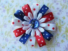 Red White & Blue Hair Bow by LivelyGirlDesigns on Etsy, $4.00