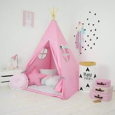 Grattify Sweet Pink Teepee. Teepee takes you to the wonderland of fun, joy and happiness. Playing in teepees develops kids imagination and creativity. {affiliate link} #pinkteepee #pinktent #pinkbedroom #pinknursery