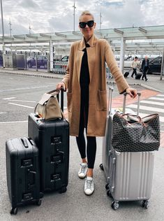 Oct 2019 - I'm so excited to be heading out for hour honeymoon! We are going to be gone for 2 weeks and visiting Greece and Italy. We got some new Calpak luggage for the trip and since it's still pretty warm in… Airport Travel Outfits, Travel Outfit Summer, Vacation Outfits, Airport Style, Airport Chic, Travel Wear, Travel Style, Travel Chic, Calpak Luggage