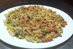 GLUTEN FREE, RICE AND VEGETABLE SPIRAL PASTA. SERVED WITH A SAUCE OF BECHAMEL, CORN AND BEANS TOSSED THROUGH!