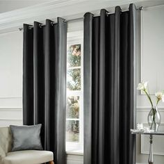 More savings every day on Velvet & Faux Silk Charcoal Curtains at homestore + more. Silver Curtains, At Home Store, Window Treatments, Charcoal, Curtain Ideas, Silk, Living Room, Home Decor, Image