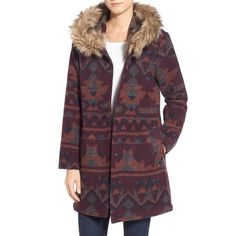 BB Dakota Faux Fur Trim Print Hooded Coat (2.884.930 VND) ❤ liked on Polyvore featuring outerwear, coats, multi, faux fur trim coat, purple coat, hooded coats, tail coat and long sleeve coat