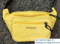 Balenciaga Logo Calfskin Belt Chest Waist Bag Yellow 2018