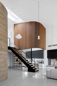 Timber Battens, Metal Cladding, Timber Walls, Wall Cladding, Minimalist Fireplace, Black Window Frames, Wood Slat Wall, Modern Interior, Interior Design