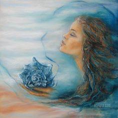 The Ocean's Breath, soft pastel #art #femaleimage #pastels #sea
