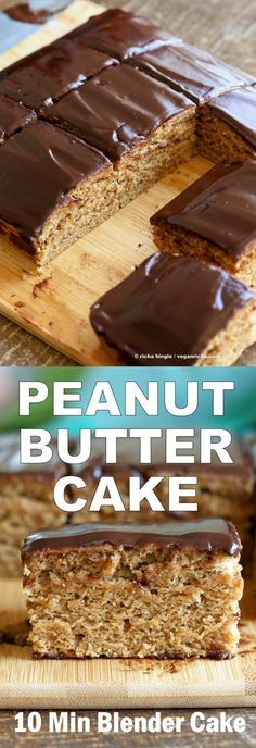 Peanut Butter Cake with Chocolate Peanut Butter Glaze. Easy 7 Ingredient Blender Cake. Ready in 25 minutes. #Vegan #Cake #Recipe | VeganRicha.com