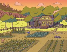 My fiancée asked me to draw a Stardew Valley sunset landscape. So voilà! Stardew Valley Farms, Stardew Valley Fanart, Farm Layout, Farm Games, Sunset Landscape, Self Promotion, Harvest Moon, Indie Games, Farm Life