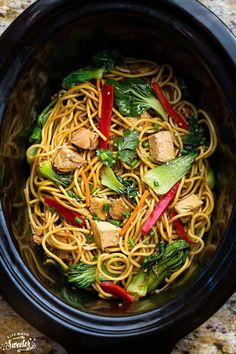 The best easy Slow Cooker Chicken Lo Mein ever. Only 15 minutes to prep. So much easier, tastier & healthier than take-out! With or without crockpot + VIDEO