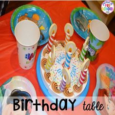 Birthday table set up for a Birthday Party in dramatic play. Perfect for a preschool & pre-k classroom. Play Based Learning, Preschool Learning, Preschool Activities, Preschool Class, Kindergarten, Birthday Table, Birthday Fun, Birthday Party Themes, Preschool Birthday
