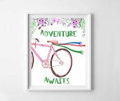 Adventure awaits, adventure awaits print, flower, flower print, adventure, adventure print, bicycle print, printable decor, typography, bike