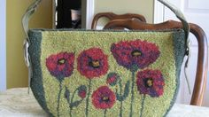 Louise Powers design hooked rug purse