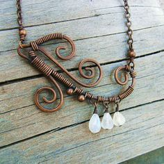 Wire Wrapped Moonstone Necklace Moonstone teardrop dangles