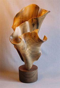 Wood Oceana inspired freestanding sculpture by John McAbery johnmcaberywoodsculptures.com | modern organic sculpture | contemporary fine art